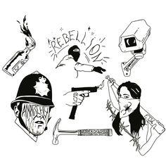 Riot tattoo flash by bobs tattoos Tattoo Sleeve Designs, Sleeve Tattoos, Tattoo Sketches, Tattoo Drawings, Arte Punk, Tattoo Trash, Tatuaje Old School, Russian Tattoo, Tattoo Flash Art