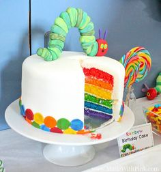 A Very Hungry Caterpillar Birthday Party - Rainbow Cake by Made With Pink, via Flickr