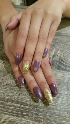 Matte purple and gold gel nails - nails by ailesh