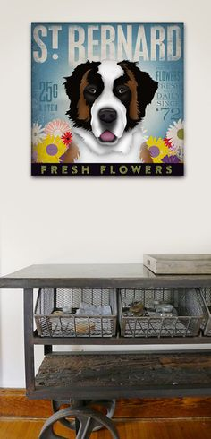 St bernard saint bernard dog flower company graphic artwork on gallery wrapped canvas by stephen fowler