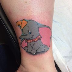 Cute dumbo by Paul #devilsowntattoos #devilsown #leicester #leicestertattoo  #disney #disneytattoo #ankletattoo #colour #colourtattoo #dumbotattoo #dumbo