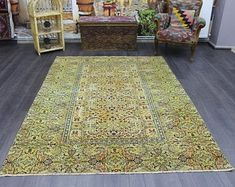 turkish rug oushak rug vintage rug turkey by turkishrugempire Yellow Rug, Vintage Rugs, Turkey, Dining Room, Room Decor, Handmade, Hand Made, Turkey Country, Room Decorations