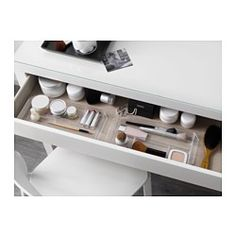 IKEA - MALM, Dressing table, , There's plenty of space for make-up and jewellery in the wide, felt-lined drawer.You don't need to worry about stains, as the durable glass table top is easy to wipe clean.May be completed with a wall or table mirror in a size and style that you like.Smooth running drawer with pull-out stop.
