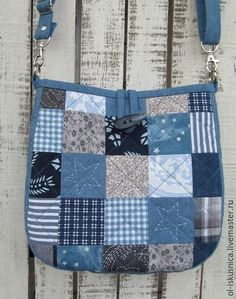 can be created with squares Simple Pretty Boro Style Bag Sew Tutorial. - Easy Step to Step DIY! Denim Bag Patterns, Bag Patterns To Sew, Denim Tote Bags, Denim Purse, Patchwork Bags, Quilted Bag, Diy Bags Purses, Denim Crafts, Simple Bags
