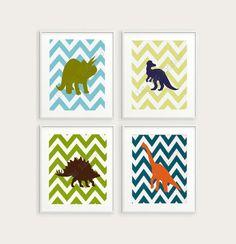 Dinosaur chevron prints.