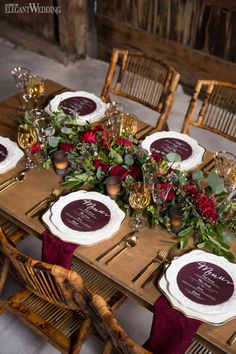 This deep burgundy/Marsala menu has me like ! Love this use of one of our most popular shades at the moment!  Rustic Wedding Table Setting, Burgundy Wedding Table Ideas, Red Wedding Table Setting | Rustic Burgundy Barn Wedding | ElegantWedding.ca