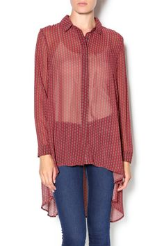 """Love the look of your boyfriend's button-up shirts? This silky, oversized shirt comes in a autumn rust print, complete with a collared neckline and long sleeves with button cuffs. A covered button placket joins the wide-cut bodice finished with a stylish high-low hem with side slits. Boxy loose fit. Unlined and semi sheer. Pair with skinnies and your suede booties for your """"go-to"""" weekend outfit!   Terra Cotta Big Shirt by Twist. Clothing - Tops - Long Sleeve Clothing - Tops - Blouses…"""