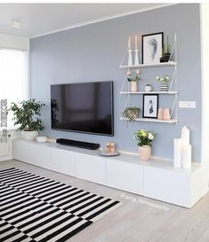 50 Affordable Apartment Living Room Design Ideas On A Budget Home Living Room, Apartment Living, Living Room Designs, Contemporary Living Room Decor Ideas, Tv On Wall Ideas Living Room, Living Area, Living Room Decor On A Budget, Living Room Tv Unit, Living Room Paint