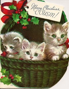 Vintage Christmas card, basket of kittens! Cat Christmas Cards, Christmas Kitten, Old Christmas, Christmas Scenes, Old Fashioned Christmas, Christmas Animals, Retro Christmas, Christmas Greetings, Xmas
