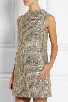 Saint Laurent | Mini-robe en tweed métallisé ornée de sequins