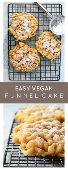 Vegan Funnel Cake - Eat. Drink. Shrink. Vegan Sweets, Vegan Desserts, Vegan Funnel Cake Recipe, Easy No Bake Desserts, Dessert Recipes, Egg Free Pancakes, Have A Snickers, Homemade Snickers, Good Healthy Recipes