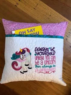 Machine Embroidery Gifts, Machine Embroidery Designs, Embroidery Patterns, Book Pillow, Reading Pillow, Pillow Talk, Crafty Craft, Crafting, Unicorn Pillow