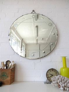 Vintage Extra Large Round Art Deco Bevelled Edge Wall Mirror Engraved Pattern