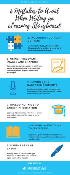 Writing an effective eLearning storyboard isn't an easy task.This infographic identifies the six most common storyboarding mistakes.