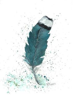 Original Watercolor Feather Study, Turquoise Feather,  Original Watercolor Print, Watercolor Feather