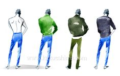 Men's Fashion illustration by Kazue Shima. Men's back styles, shirts, jacket, summer sweater. (Material: water color, pencil, photoshop)
