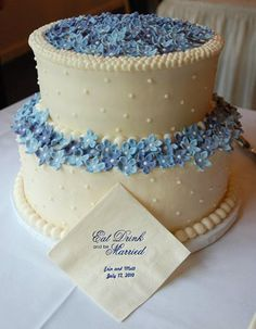 I love this one too ! - buttercream wedding cake with fresh flowers blue and white | Wedding Cakes :: Courtney's Confections :: Custom Wedding Cakes ...