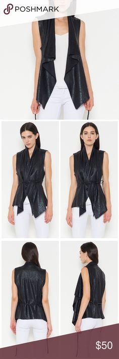 Hayden  Vegan Leather Moto Vest d e s c r i p t i o n  Loving this oh so soft edgy chic vegan leather moto vest for fall! Wear it open for a more casual feel, or tie it for an edgier look!  c o n t e n t  95% polyester | 5% spandex      p a i r e  w i t h   + lyra slit cowl neck  bundle for a discount VEGA Jackets & Coats Vests