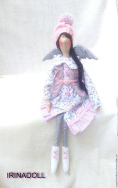 Купить Тильда - ангел на коньках. - бледно-сиреневый, тильда ангел, ангел на…