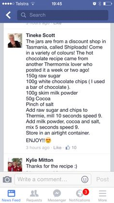 Hot chocolate recipe Hot Chocolate Recipes, White Chocolate Chips, Discount Shopping, Thermomix