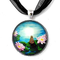 Frog in a Moonlit Pond Handmade Jewelry Art Pendant Laura Milnor Iverson http://www.amazon.com/dp/B00MHYC7L2/ref=cm_sw_r_pi_dp_Wz84tb0BRMHQ8 $29.99