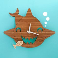 Bamboo Happy Shark Clock: Wooden Kids Wall Clock Ocean