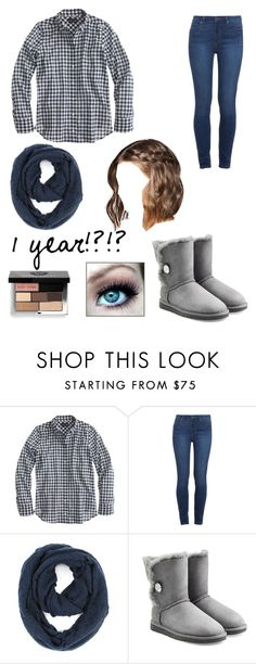 """""""I've been on 1 year!"""" by ironman8995 ❤ liked on Polyvore featuring J.Crew, Paige Denim, Paula Bianco, UGG Australia and Bobbi Brown Cosmetics"""