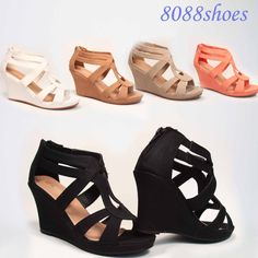 Cute Strappy Open Toe Low Wedge Platform Heel Sandal Shoes Size 5 - 10 NEW