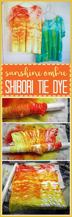 Create a beautiful ombre t-shirt using the Shibori tie dye method!