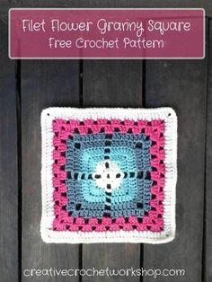 Filet Flower Granny Square - Free Crochet Pattern | Creative Crochet Workshop
