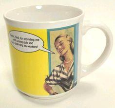 Damilo Grafix Coffee Tea Mug Thanks God For Lovely Job Charming Co Workers  #RecycledPaperGreetings #Sarcasm #OfficeHumor #Coworker #DamiloGrafix #vintagecartoonmug #Funnycoffeemug