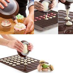 1-Set-Silicone-Pastry-Macaron-Baking-Mould-Sheet-Mat-Decorating-Pen-4-Nozzles