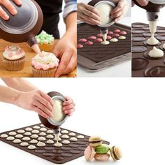 1-Set-Silicone-Pastry-Macaron-Baking-Mould-Sheet-Mat-Decorating-Pen-4-Nozzles