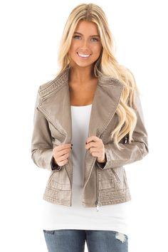 10e2b2fbf26 Lime Lush Boutique - Grey Faux Leather Jacket with Asymmetrical Zipper