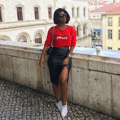 """1,549 curtidas, 18 comentários - Mrs. SONIA BELO (@munich_g) no Instagram: """"Femme Power 💦"""" Black Girl Fashion, Look Fashion, Urban Fashion, Fashion Outfits, Womens Fashion, Cute Casual Outfits, Stylish Outfits, Summer Outfits, Skirt And Sneakers"""