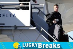 <p>Atlanta Falcons' Matt Ryan gets off the plane as the team arrives at George Bush Intercontinental Airport for the NFL Super Bowl 51 football game against the New England Patriots Sunday, Jan. 29, 2017, in Houston. (AP Photo/David J. Phillip) </p>