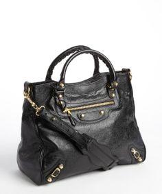 Balenciaga black leather 'City' shoulder bag