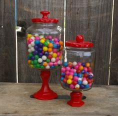 Red Upcycled Apothecary Jar Set Bubble Gum Candy Bar Wedding or Birthday Party Candy Buffet.