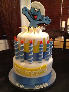 the smurfday cake...  sweet mary's. new haven. ct