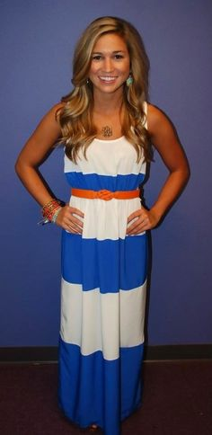 Cute long dress in UF colors for my friend Tammy Yarbrough.  I would need it in Gold and Navy!