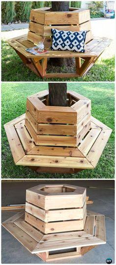 Bricolage Hexagone cèdre Instructions Banc de plan libre - extérieur Idées de Banc de jardin
