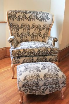 on chair and ottoman, after. Love it for my room Elephant Home Decor, Elephant Room Ideas, Elephant Decorations, Chair And Ottoman, My Room, My Dream Home, Home And Living, Living Spaces, Living Room