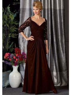 A-line V-neck Pleated Lace 3/4 Sleeve Chiffon Mother Of the Bride Dresses