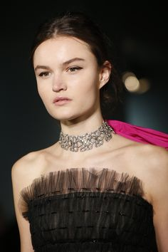The choker can also look very romantic - Oscar de la Renta accessoried his strapless ball gowns with bejeweled styles that looked very elegant. http://VelvetChokers.com