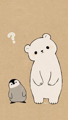 polar bear penguin drawing in cute animal drawings, cute - polar bear cute drawing Cute Disney Wallpaper, Kawaii Wallpaper, Animal Wallpaper, Cute Cartoon Wallpapers, Wallpaper Iphone Cute, Polar Bear Wallpaper, Wallpaper Doodle, Spring Wallpaper, Pastel Wallpaper