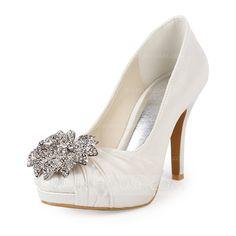 Wedding Shoes - $73.99 - Women's Satin Cone Heel Closed Toe Platform Pumps With Rhinestone (047015212) http://jjshouse.com/Women-S-Satin-Cone-Heel-Closed-Toe-Platform-Pumps-With-Rhinestone-047015212-g15212?pos=your_recent_history_2