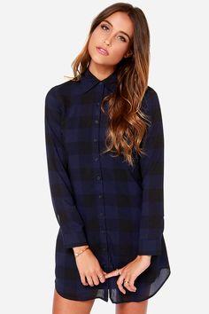 BB Dakota Keenan Navy Blue Plaid Shirt Dress at LuLus.com