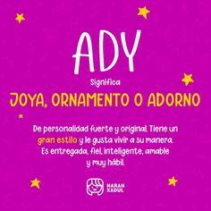 Significa: Joya, ornamento o adorno. De personalidad fuerte y original. Baby, Cute Baby Girl Names, Girl Names, Meanings Of Names, Baby Humor, Infant, Babies, Babys