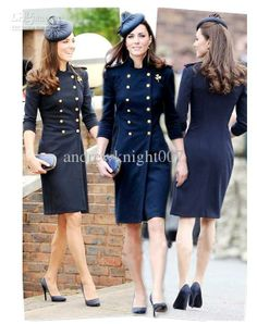 2012 British style Princess Kate Military Convention Woollen Long Coat Women's dress free shipping