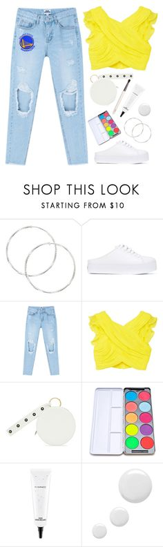 """""""Good Jeans"""" by shoelover220 ❤ liked on Polyvore featuring Opening Ceremony, MANGO, Diane Von Furstenberg, Stargazer, MAC Cosmetics, Topshop, Chantecaille, distresseddenim and goldenstate"""